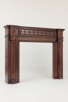 Small Mahogany Fireplace Mantel with Classical Columns - Opening Wooden Fireplace Surround, Fireplace Mantel Surrounds, Limestone Fireplace, Open Fireplace, Victorian Fireplace Mantels, Georgian Fireplaces, Mantel Mirrors, Pillar Design, Wooden Door Design