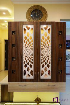 Ramesh & Vidya's apartment in Purva Raman Nagar, Bangalore Pooja Room Door Design, Door Design Interior, Main Door Design, Home Room Design, Interior Designing, Living Room Partition Design, Room Partition Designs, Temple Design For Home, Jaali Design
