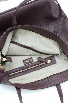 c5cf79866c3d6 DOMI - Top Zip Leather Tote Bag in Burgundy Oxblood by MISHKA Mishka