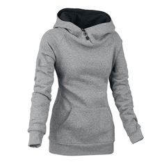 Slimming Front Pockets Buttons Design Solid Color Long Sleeve Pullover Hoodie For Women (GRAY,XL) | Sammydress.com