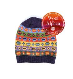 Knit Fair Isle Hat from Alpaca Wool Yarn. Fair Isle Knitting, Hand Knitting, Knitting Patterns, Alpaca Wool, Wool Yarn, Hand Knitted Sweaters, Knitted Hats, Super Bulky Yarn, Beanie Pattern