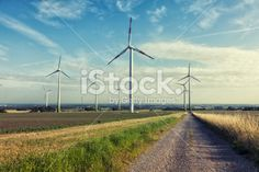 wind turbine renewable energy summer landscape Royalty Free Stock Photo