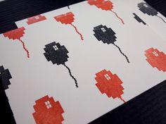 8 Bit Halloween Balloon cards #8Bit, #halloween, #balloons