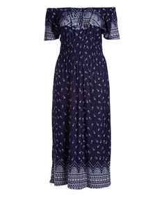 Look what I found on #zulily! Navy Shirred Off-Shoulder Peasant Dress - Plus #zulilyfinds
