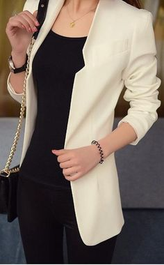business style perfection : bag + black top + pants + nude blazer