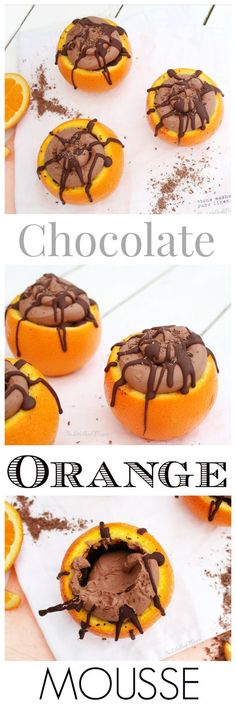 Vegan, Dairy-free, Egg-free, Wheat-free Chocolate Orange Mousse, served in Chocolate lined Oranges!