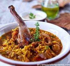 Arroz caldoso con conejo y setas receta