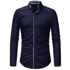 2018 New hot sale Men Shirt Long Sleeves Solid color Mens Dress Shirts Camisa  Masculina Autumn d6fd94d5dc9c0