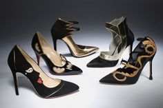 Going for Baroque  (From left: Charlotte Olympia's surrealist suede pump; Christian Louboutin's patent pump with mesh cutouts; Barbara Bui's double-ankle-strap pointy toe pump; Gio Diev's high-rise pony-hair pump; Manolo Blahnik's satin pump with applique)