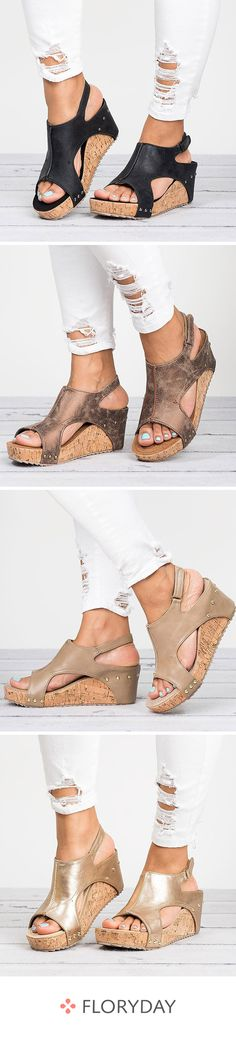"""Shoes """"cut"""" recessed wedge heel and buckle - Shoes 02 New Chic, African Fashion Dresses, Wedge Heels, Sportswear, Wedges, Couture, Womens Fashion, Swimwear, How To Wear"""