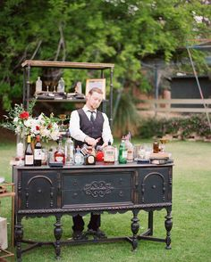 A Whimsical Malibu Wedding Inspired by the Greatest Love Stories Martha Stewart Weddings - A makeshift cocktail bar featured a vintage dresser and a bookshelf complete with glass bottles, framed pictures and other knick-knacks, doubled as the location's Martha Stewart Weddings, Wedding Signs, Wedding Venues, Bar For Wedding, Fall Wedding, Cocktail Wedding Reception, Wedding Rentals, Wedding Tables, Drinks At Wedding