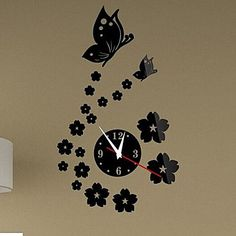 Wall Clock Stickers Wall Decals, Flowers And Butterflies Mirror Acrylic Wall Stickers – DKK kr. 87