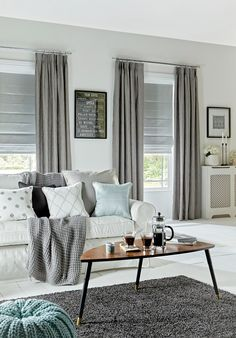 Sherwood Silver Curtain and Oasis Silver Roman blinds by Style Studio- don't like bunching at top