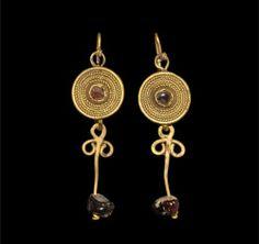 Roman - Gold Garnet Drop Earrings circa 2nd century AD.