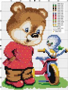 Zz Cross Stitch For Kids, Cross Stitch Baby, Cross Stitch Animals, Cross Stitch Kits, Cross Stitch Designs, Cross Stitch Patterns, Hama Beads Disney, Cross Stitch Needles, Kids Patterns