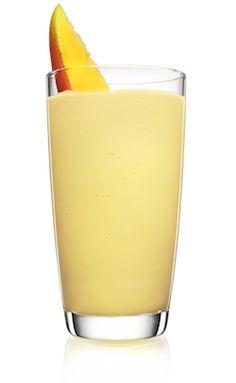 Malibu Orange Mango Smoothie 1 part MALIBU ORANGE FLOAT 2 scoops coconut ice cream 3 chunks mango Mango wedge