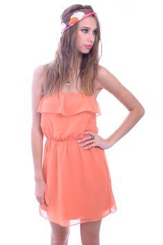 Orange Chiffon Bust Ruffle Strapless Dress