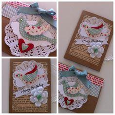 Vintage Shabby Chic handmade cards with doilies & felt flowers