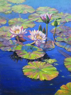 Large Pastel Painting Of Water Lilies On Sunny Blue Pond By Jill Stefani  Wagner, Www.jillwagnerart.com