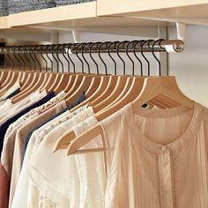 Elfa Closet Rod and Basic Lotus Hangers – Pants Hanger İdeas Elfa Closet, Closet Rod, Closet Shelves, Closet Storage, Closet Organization, No Closet Solutions, Reach In Closet, Custom Shelving, Custom Closets