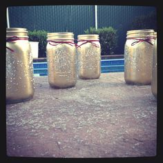 Sparkle jars, great for anything and super adorable! All you need are mason jars, glitter, spray paint, and ribbon. The combinations are endless! <3