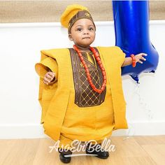 An is a wedding guest {bella} looking stunning in aso-ebi – the fabric/colors of the day, at a - AsoEbi Bella. African Wear Styles For Men, African Dresses For Kids, African Men Fashion, African Fashion Dresses, African Attire, Aso Ebi Lace Styles, Latest Aso Ebi Styles, Black Kids Fashion, Baby Boy Fashion
