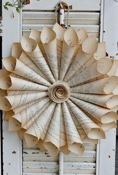 Book page wreath. DIY garlands wreaths mobiles