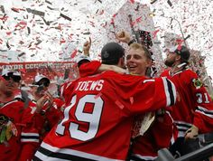 e0c6f1c5911 Jonathan Toews and Patrick Kane celebrate during the Chicago Blackhawks  Stanley Cup victory rally I see