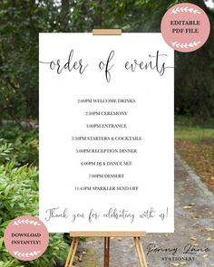 Instant Download Editable PDF Printable DIY Wedding Order of Events Timeline Schedule Itinerary Board Poster Large Print Minimalist Simple Classic Clean Decor D... | The Knot Wedding Checklist Pdf | Free Printable Wedding Planner Book Pdf. If you pick to do the preparation yourselves, there are lots of things you can do to develop the best wedding event. Remaining organized and focused...