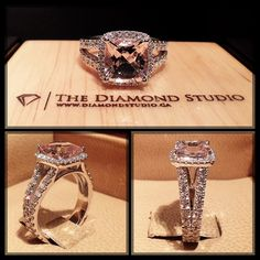 Let's start 2015 with this amazing @diamondboi ring. This design was made for an old school friend of mine. It was designed with a beautiful cushion cut Morganite. The Morganite sits on a tight Italian pave cushion halo. The split shank was also done in an Italian pave setting. #diamond #diamonds #wedding #weddings #engagement #ring #rings #bride #brides #jewellery #jewelry #morganite #halo #diamondboi