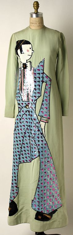 Dress.  Geoffrey Beene  (American, 1927–2004).  Date: spring/summer 1971. Culture: American. Medium: silk, plastic. Dimensions: Length at CB: 59 1/2 in. (151.1 cm).