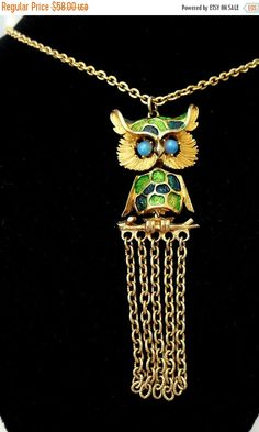 Biggest Sale Ever Hobe Owl Necklace in Gold Green by Ladysfancys