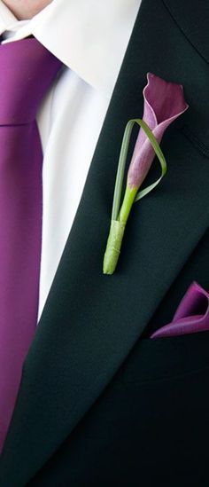 A purple calla lily becomes modern when accented with a  thin architectural leaf.