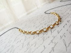 Long black and gold necklace - long simple necklace. $28.00, via Etsy.