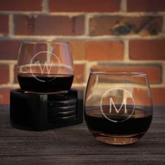 Design Your Own Stemless Wine Glasses Personalized with Our Monogram Design Options & Font Selection (Select Type of Glass - Each) by DesignstheLimit #TrendingEtsy