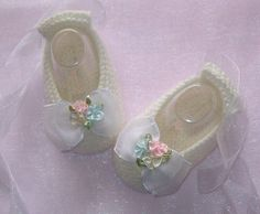 Baby Girls Hand knitted Ballet Booties by just2cuteknits on Etsy, $16.00