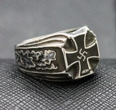 RINGS SS GERMAN IRON CROSS SWASTIKA SILVER http://antiq24.com/product/ring-ss-german-iron-cross-swastika-silver/