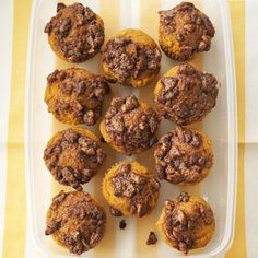 Pumpkin-Praline Muffins, with cinnamon, nutmeg, cloves and pumpkin. More pumpkin recipes: http://www.midwestliving.com/food/holiday/28-pumpkin-recipes-we-absolutely-love/page/24/0