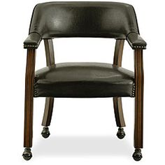@Overstock - Dine in comfort while adding style to your home with a solid wood and upholstered chair  Dining room furniture features dark brown vinyl upholstery and nailhead designs  Chair is set on rolling castershttp://www.overstock.com/Home-Garden/Dark-Brown-Vinyl-Upholstered-Caster-Chair/4394706/product.html?CID=214117 $117.97