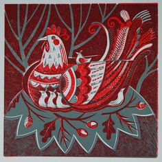 Hen collagraph