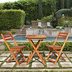 @Overstock.com - Premium Hardwood 3-piece Bistro Set - Create an inviting place to enjoy a weekend breakfast outside with this weather-resistant three-piece bistro set. Its natural tan wood blends beautifully into your backyard, so the two of you can dine together on this modest-sized table and chairs.  http://www.overstock.com/Home-Garden/Premium-Hardwood-3-piece-Bistro-Set/6709336/product.html?CID=214117 $108.63
