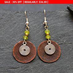 SALE - Bohemian earrings Hammered copper and lime Jade earrings Ethnic jewelry Spiral earrings Mixed metal dangle earrings for women... by StudioDjewelry