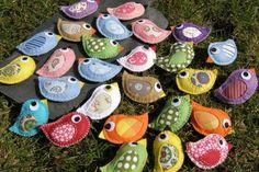 Výsledek obrázku pro výrobky s návodem Felt Birds, Author, Handicraft, Stones