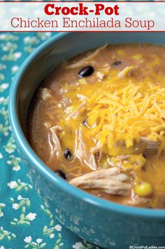 An easy yet fun way to make Crock-Pot Chicken Enchilada Soup. No pre-cooking the chicken, just add the ingredients, and you will have a yummy soup! Slow Cooker Recipes, Crockpot Recipes, Soup Recipes, Cooking Recipes, Healthy Recipes, Gluten Free Recipes Crock Pot, Chicken Recipes, Crock Pot Soup, Crock Pot Cooking