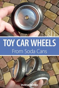 Toy Car Wheels From Soda Cans Make inexpensive wheels for toy cars using aluminum soda pop cans and old bicycle inner tubes. Upcycled Crafts, Recycled Toys, Upcycled Home Decor, Recycled Fabric, Upcycled Furniture, Handmade Crafts, Aluminum Can Crafts, Aluminum Cans, Soda Can Crafts