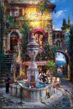 """CAO YONG """"Twilight by the Fountain"""" LIMITED EDITION H/E CANVAS 30"""" by 20"""" Cao Yong In 1962, Cao Yong was born into in China. During the Cultural Revolution, his family was singled out for harsh treatm"""
