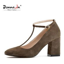 0703923fc1f4 Donna in new collection patent leather shoes fashion square toe high heel  women shoes genuine leather lady shoes купить на AliExpress