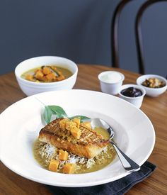 Australian Gourmet Traveller fast recipe for Sri Lankan snapper curry with basmati rice and yoghurt