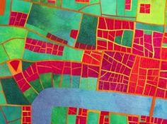 Elizabethan City map art quilt by Alicia Merritt