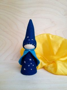 Big Wooden Peg Gnome - Silver Star -  Waldorf and Montessori inspired on Etsy, $14.72 CAD